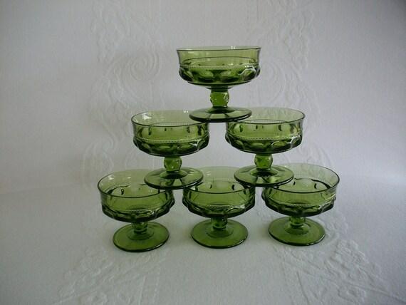 Vintage Dessert Stemware Dishes Set in Avocado Green Cut Glass