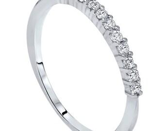 1/4CT Diamond Ring Womens Wedding Band 14 KT White Gold