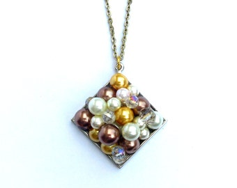 The Candy Necklace Caramel, colored pearls and clear crystals pendant, geometric accessories, OOAK