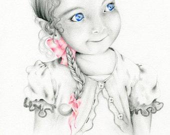 Custom Portrait Whimsical Fantasy Portrait Custom Artwork Original Pencil Drawing Illustration