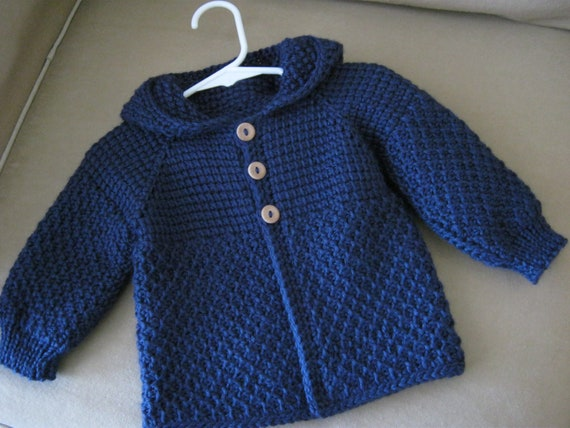 Navy Blue Crochet Baby Boy Sweater with Hood. by ...