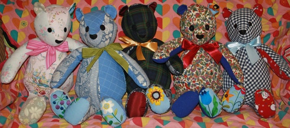 OOAK Custom Memory Teddy Bear from YOUR Keepsake Clothing T Shirt Quilt