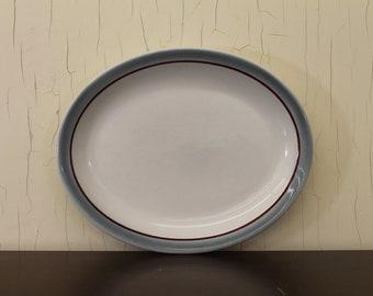 Vintage Walker China Small White Platter w/Blue & Burgundy Rim (E1945)