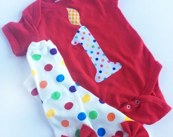 First Birthday Number 1 Candle Red One Piece with Rainbow Polka Dot Bow Leg Warmers
