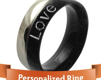 Personalized Jewelry - Personalized Ring - Classy Stainless Steel Silver and Black Ring The Perfect Gift