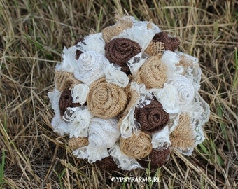 Burlap Bouquet, Burlap and Lace Bridal Bouquet, Rustic Chic Bridal Wedding Bouquet, Country, Farm Wedding, Keepsake Bouquet, Fabric FLowers