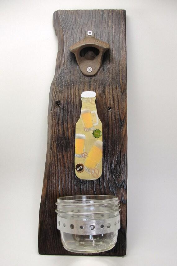 bottle opener reclaimed wood wall mount mason jar cap catcher. Black Bedroom Furniture Sets. Home Design Ideas