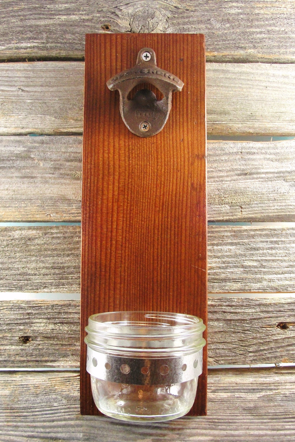 Bottle opener upcycled wood wall mount mason jar cap catcher - Wall mounted beer bottle opener cap catcher ...