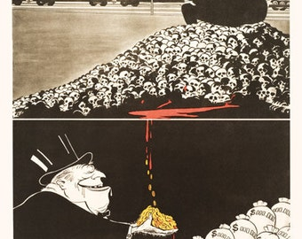Death to World Capitalism / Every dollar besmirched by War's dirty profits...Every dollar stained with blood... (Lenin) / 1949 Soviet poster