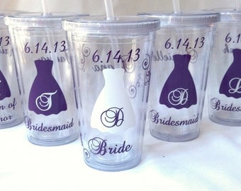1 Tumbler for Bride and Bridesmaids, Wedding party acrylic glasses with lid and straw, Name date and title personalization plum purple