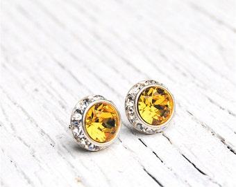 Canary Diamond Yellow Rhinestone Stud Earrings Swarovski Crystal Canary Yellow Studs Sugar Sparklers Small Mashugana