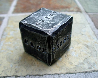 """1"""" PERSONALIZED DIE Hand Forged and Personalized by Blacksmith Naz - Custom Die   Personalized Gift - One of a Kind - Unique - Original"""