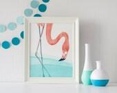 PRINT -  Flamingo in Lagoon