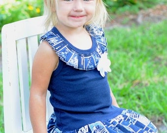 Girls Custom Dress Navy Dress with Rhinestone Flower Girls Dresses Birthday Dress Kids Girls Clothing Available 6-12 months- Size 6/8