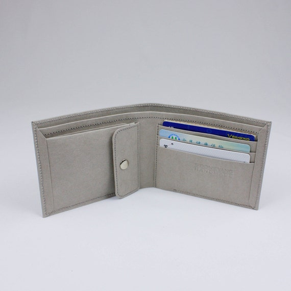Men's Wallet with Coin Pocket made from Washable Kraft Paper in Gray