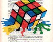 Digital Print Mixed Media Illustration Print Art Poster Acrylic Painting wall glicee Decor Drawing Illustration Gift: Melting Rubik's cube
