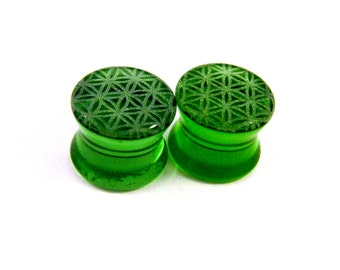 "Flower of Life Green Glass Plugs - PAIR - 2g (6mm) 0g (8mm) 00g (9mm) (10mm) 7/16"" (11mm) 1/2"" (13mm) 9/16"" (14mm) 5/8"" (16mm) Ear Gauges"