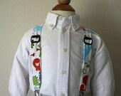 Dinosaur print adjustable suspenders
