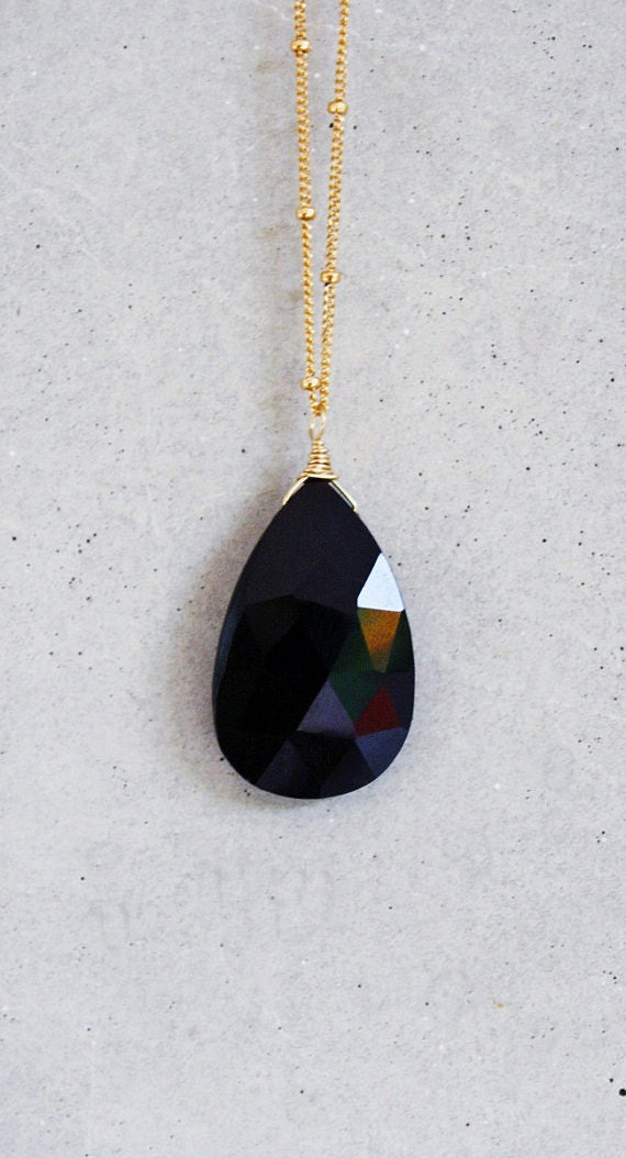 faceted ONYX drop necklace
