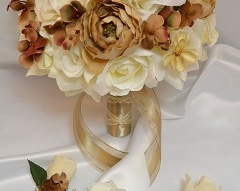 """17 Piece Package Wedding Bridal Bride Maid Honor Bridesmaid Bouquet Boutonniere Corsage Silk Flower CHAMPAGNE CREAM """"Lily of Angeles"""" IVCR01"""