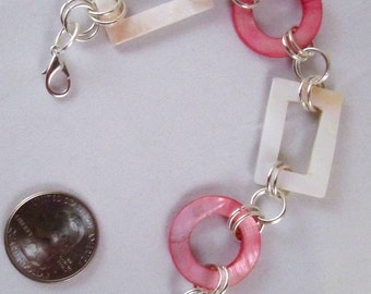 Pink and White Geometrics Mother of Pearl Bracelet