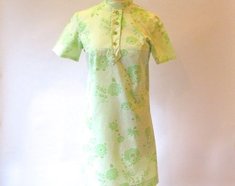 Vintage Green Dress, Cotton 60s Shift, Mod Metal Zipper Dress, Green Summer Dress