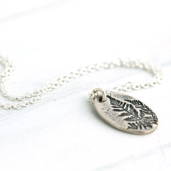 Fern Botanical Silver Necklace / Nature Inspired Design / Plant Impression / Sterling Silver Jewelry by burnish
