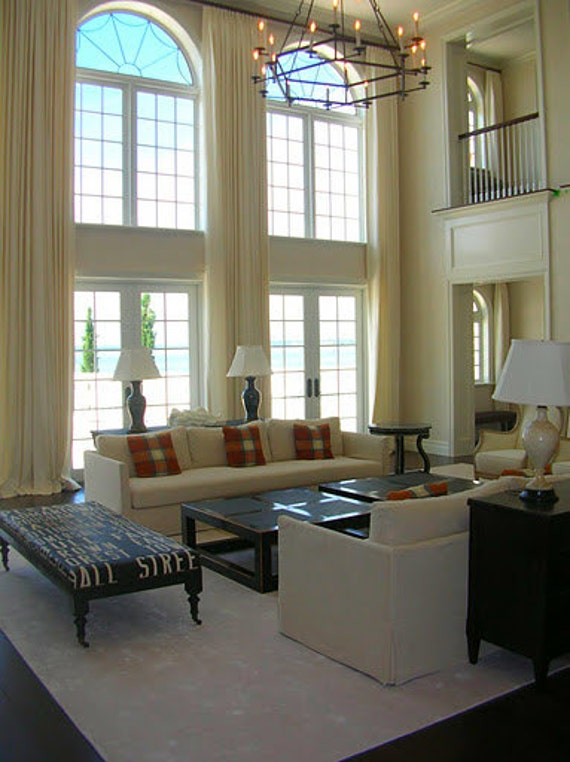 Living room curtains with rings - Extra Long Curtains Panels For High Windows Loft Draperytreatment