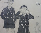 Fabulous Vintage 1919 Girls' or Boys' Double Breasted Coat and Beret Pattern
