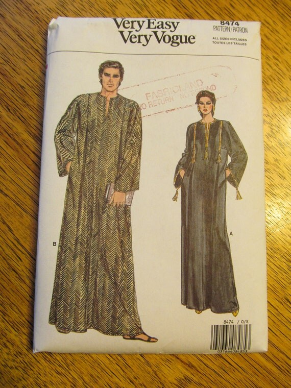 Unisex CAFTAN - EASY Belly Dance Cover Up - UNCUT Sewing Pattern Vogue 8474