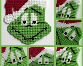 Grinch Magnet made with Plastic canvas Mr Grinch with Christmas hat holiday magnet