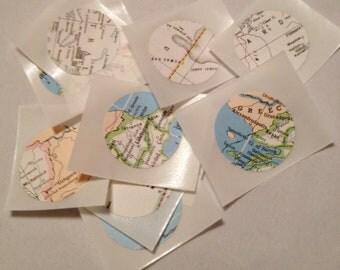 Round Atlas Stickers, Map Stickers, Envelope Seals, Embellishments