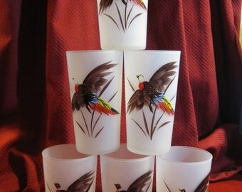 Vintage  Hand-Painted Federal Frosted Pheasant Glasses 1950's
