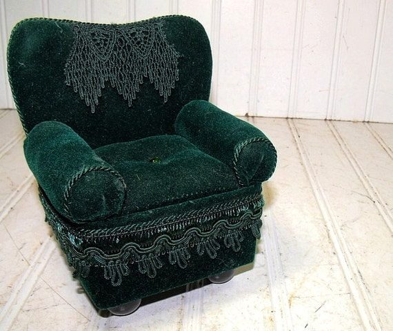 Vintage Overstuffed Green Velvet Chair Doll Display Size