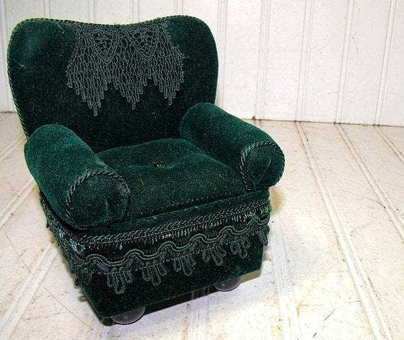 Antique overstuffed chairs - Vintage Overstuffed Green Velvet Chair Doll Display Size