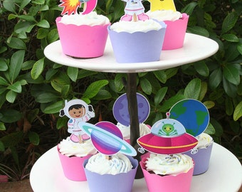Astronaut Space Girl Party Assorted Cupcake Toppers Set of 12