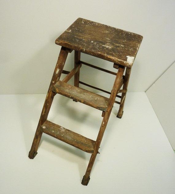 Antique Wooden Step Stool Old Paint Splashes By Gillardgurl