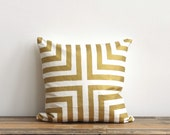 Doha decorative pillow cover hand printed in metallic gold on off-white organic cotton hemp