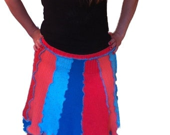 Flirty Skirty orange coral and electric blue upcycled sweater pixie skirt by Hope Floats Upcycled