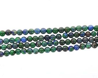 6mm AZURITE MALACHITE CHRYSOCOLLA Round Gemstone Beads, full strand, gmx0024