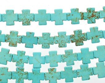 1 strand Synthetic Howlite Stone Beads TURQUOISE BLUE MALTESE Cross 15mm how0162