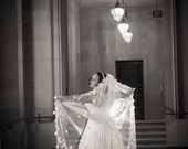 3D Flower Petal Veil Chapel Length
