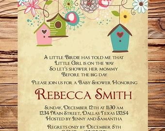 Baby Shower Invitation, Bird houses Baby Shower Invitation, Boy, Girl, Vintage Baby Shower Invite, Birds, Brown, Pink, 1057