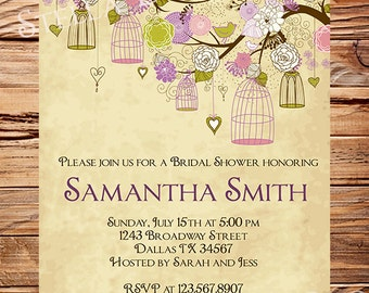 Vintage Birdcage Invitation,Vintage Bridal Shower Invitation,Wedding Shower,Birds, Birdcages, Brown, Purple, 5264