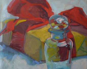 """Oil Painting """"Transparency"""" Glass Red Present 12""""x14"""""""