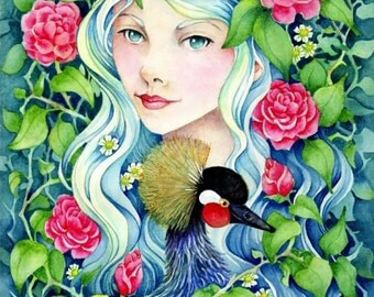 """Fantasy Art 8.5x11 Print """"Camelia"""" Girl with Camellias and Crowned Crane"""