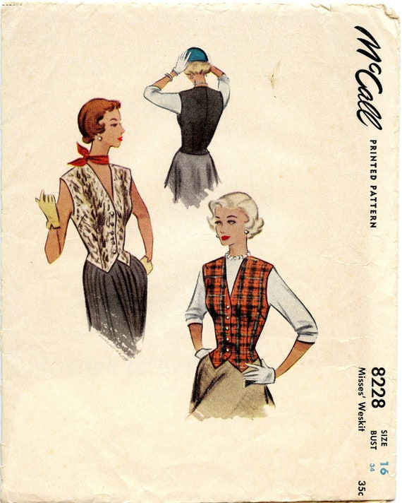 1950s McCall 8228 Weskit or Vest Vintage Sewing Pattern Bust 34 UNCUT