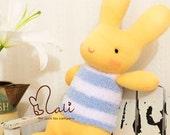 "Reserved for epipark - Mali Sock Doll, Sock Rabbit, Blue and White Striped Fluffy Shirt Orange Sock Bunny, ""Orange Cupcake"""