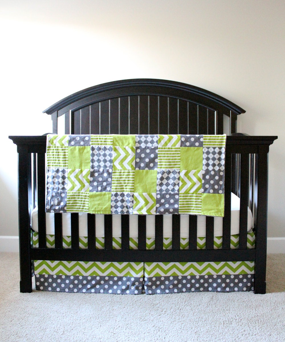 Custom Crib Bedding Lime Green And Grey By Gigglesixbaby