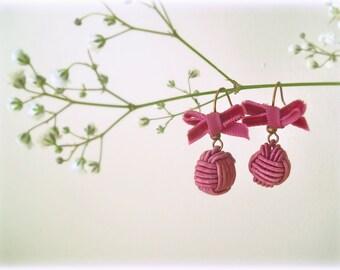 Raspberry earrings - Small hook silk crochet ball beads velvet ribbon bow burgundy fuchsia oxblood fabric jewelry gift for her